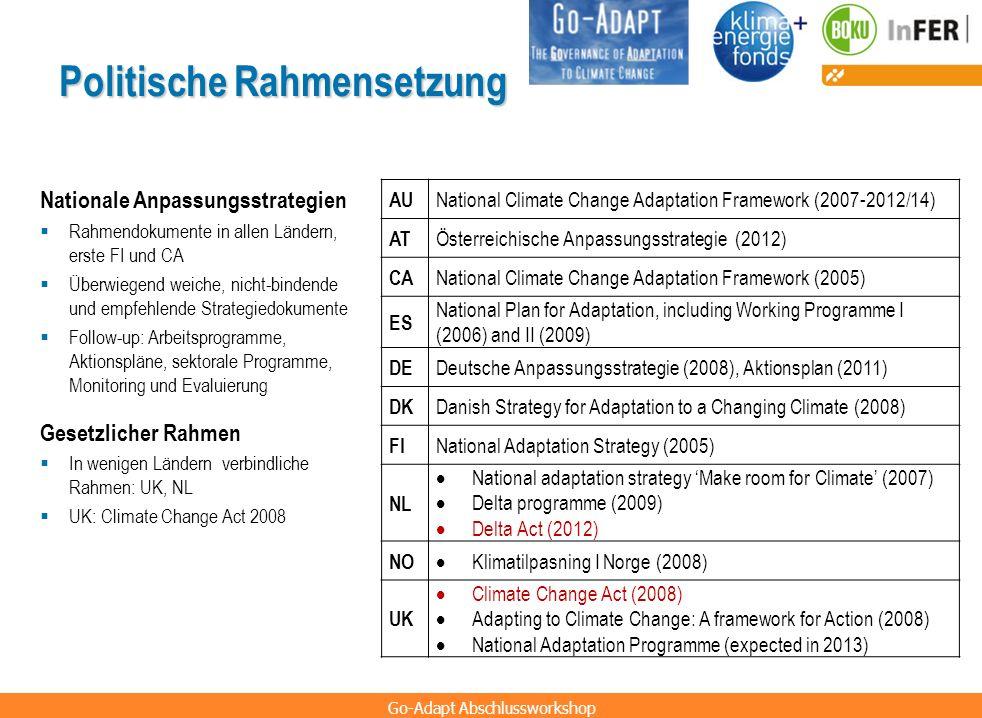 Go-Adapt Abschlussworkshop Politische Rahmensetzung AU National Climate Change Adaptation Framework (2007-2012/14) AT Österreichische Anpassungsstrate