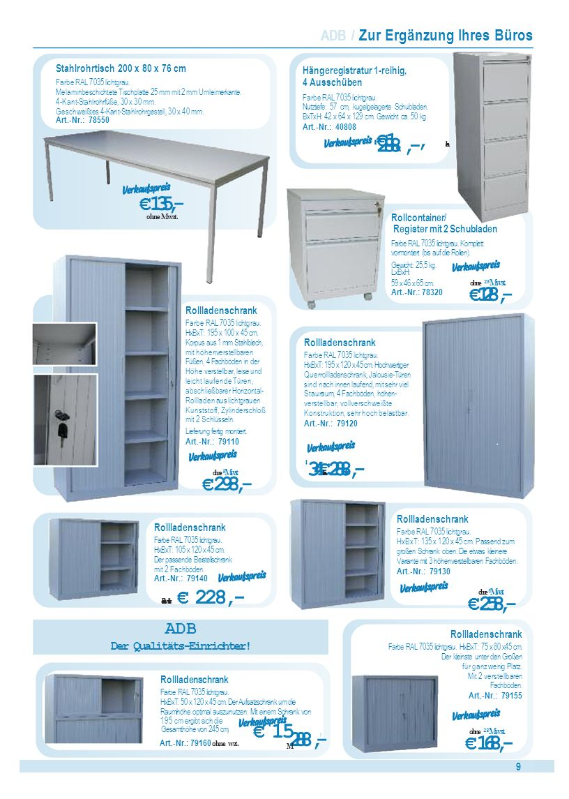 10 Werkbänke / ADB Werkbank mit 2 Schubladenboxen mit je 5 Schubladen Farbe RAL 7035/5012.