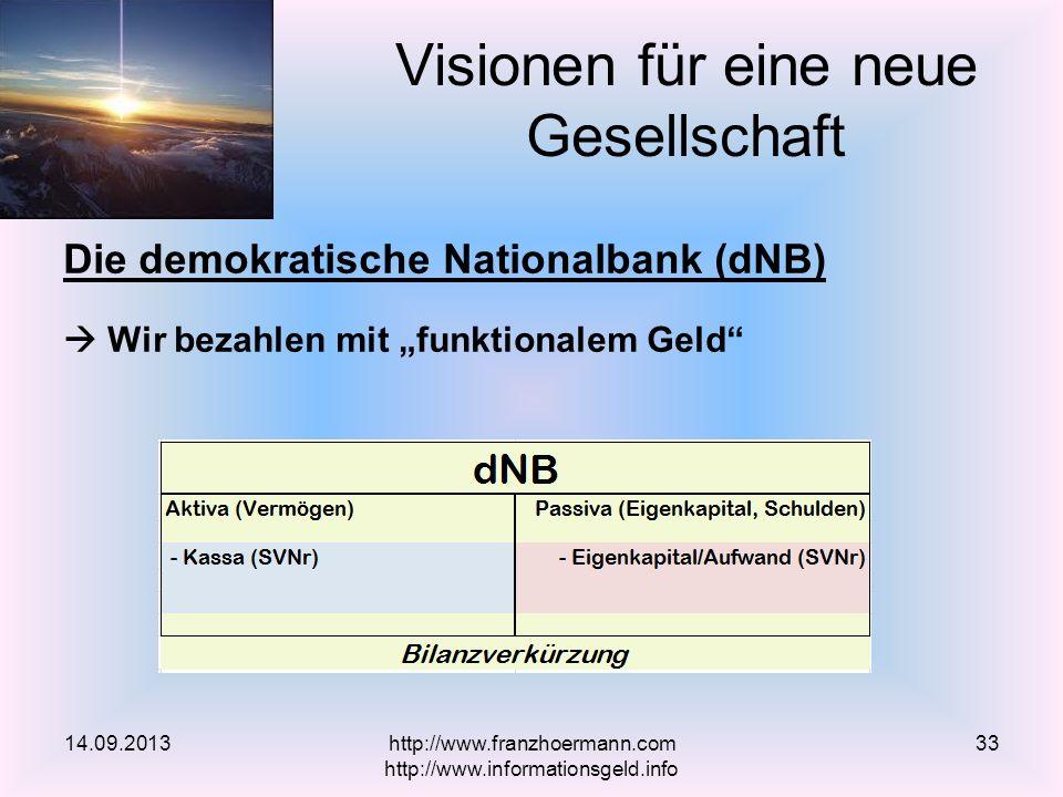 Die demokratische Nationalbank (dNB) Wir bezahlen mit funktionalem Geld Visionen für eine neue Gesellschaft 14.09.2013http://www.franzhoermann.com http://www.informationsgeld.info 33