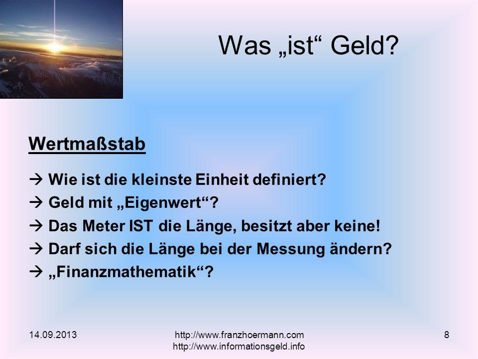 Goldschmied Fabian – warum überall Geld fehlt http://www.youtube.com/watch?v=_h0ozLvUTb0 Positivemoney http://www.positivemoney.org.uk/ Monetative – Geldschöpfung in öffentliche Hand http://www.monetative.org/ Vollgeld – Verein Monetäre Modernisierung http://vollgeld.ch/ Geld mit System http://geldmitsystem.org/ Links 14.09.2013http://www.franzhoermann.com http://www.informationsgeld.info 59