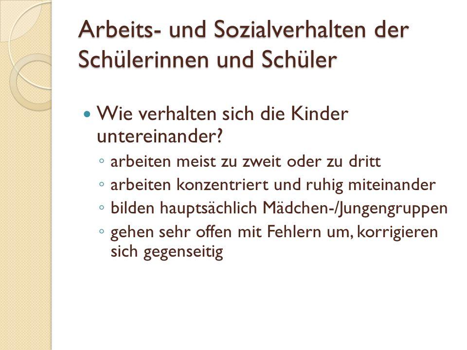Arbeits- und Sozialverhalten der Schülerinnen und Schüler Wie verhalten sich die Kinder untereinander.
