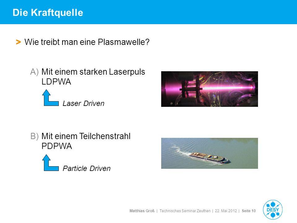Matthias Groß | Technisches Seminar Zeuthen | 22. Mai 2012 | Seite 10 > Wie treibt man eine Plasmawelle? A)Mit einem starken Laserpuls LDPWA B)Mit ein