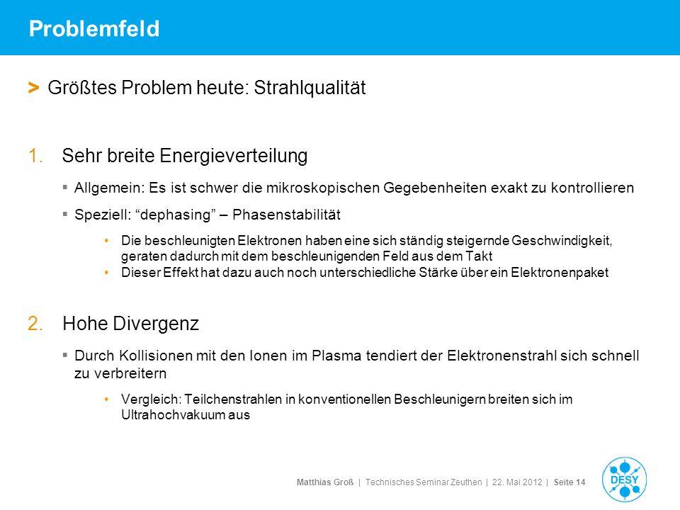 Matthias Groß | Technisches Seminar Zeuthen | 22. Mai 2012 | Seite 14 Problemfeld > Größtes Problem heute: Strahlqualität 1.Sehr breite Energieverteil