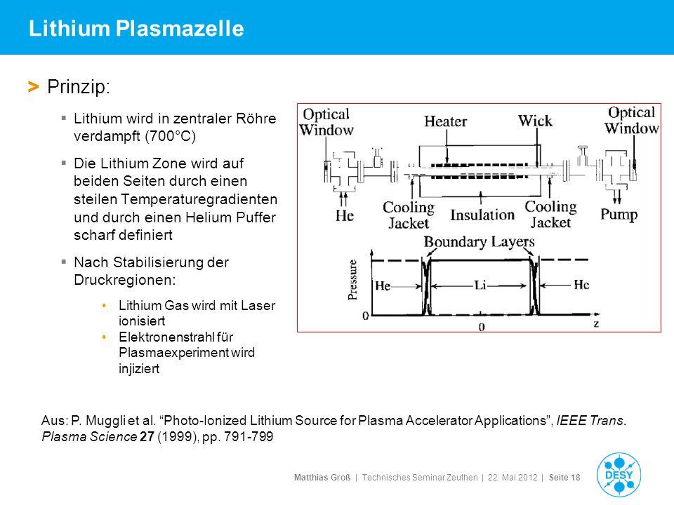 Matthias Groß | Technisches Seminar Zeuthen | 22. Mai 2012 | Seite 18 Lithium Plasmazelle > Prinzip: Lithium wird in zentraler Röhre verdampft (700°C)