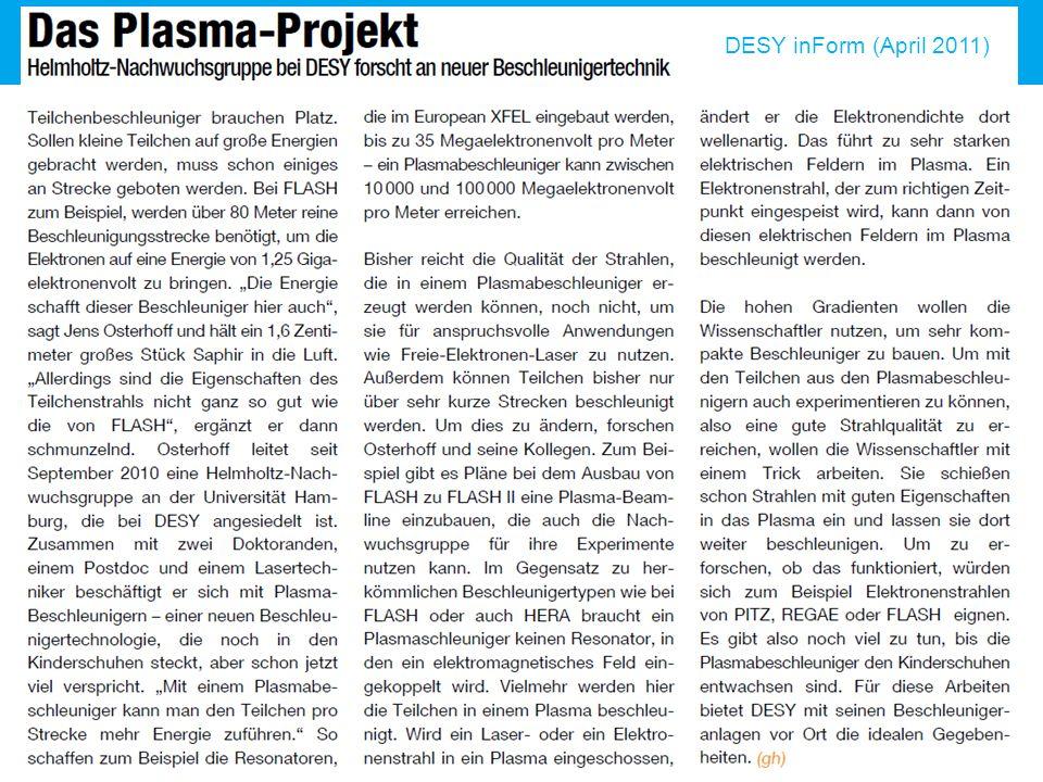 Matthias Groß | Technisches Seminar Zeuthen | 22. Mai 2012 | Seite 2 DESY inForm (April 2011)