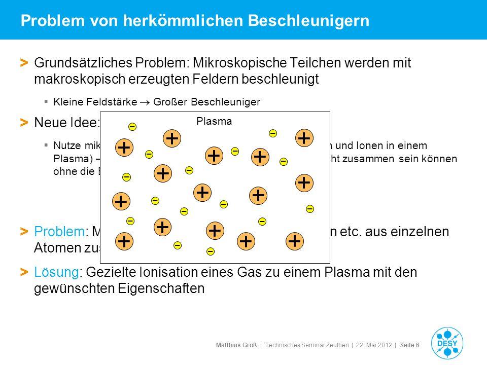 Matthias Groß | Technisches Seminar Zeuthen | 22. Mai 2012 | Seite 6 Problem von herkömmlichen Beschleunigern > Grundsätzliches Problem: Mikroskopisch