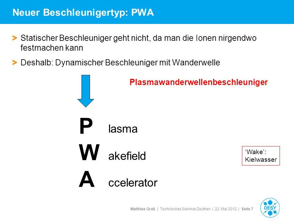 Matthias Groß | Technisches Seminar Zeuthen | 22. Mai 2012 | Seite 7 Neuer Beschleunigertyp: PWA > Statischer Beschleuniger geht nicht, da man die Ion