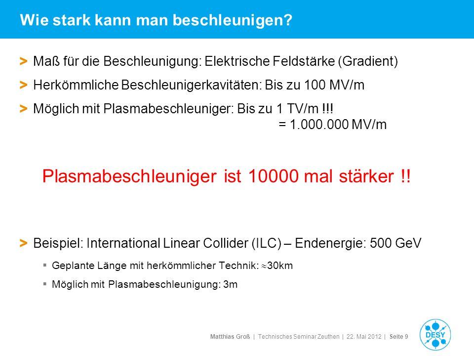 Matthias Groß | Technisches Seminar Zeuthen | 22. Mai 2012 | Seite 9 Wie stark kann man beschleunigen? > Maß für die Beschleunigung: Elektrische Felds