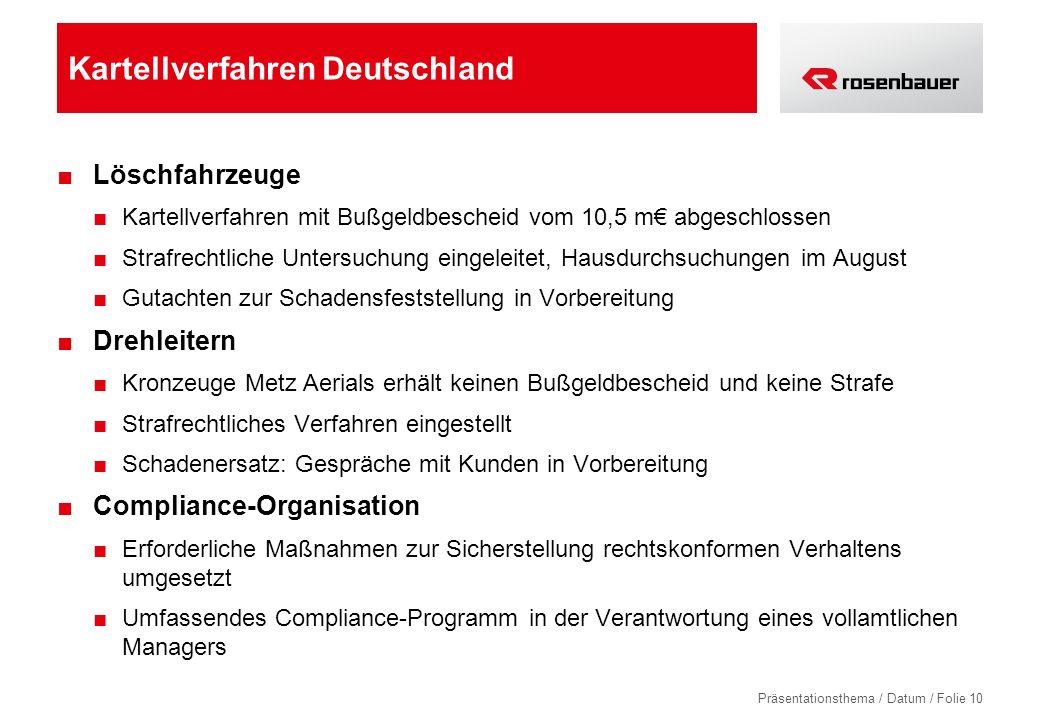 Präsentationsthema / Datum / Folie 10 Kartellverfahren Deutschland Löschfahrzeuge Kartellverfahren mit Bußgeldbescheid vom 10,5 m abgeschlossen Strafr