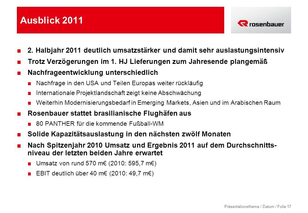Präsentationsthema / Datum / Folie 17 Ausblick 2011 2. Halbjahr 2011 deutlich umsatzstärker und damit sehr auslastungsintensiv Trotz Verzögerungen im