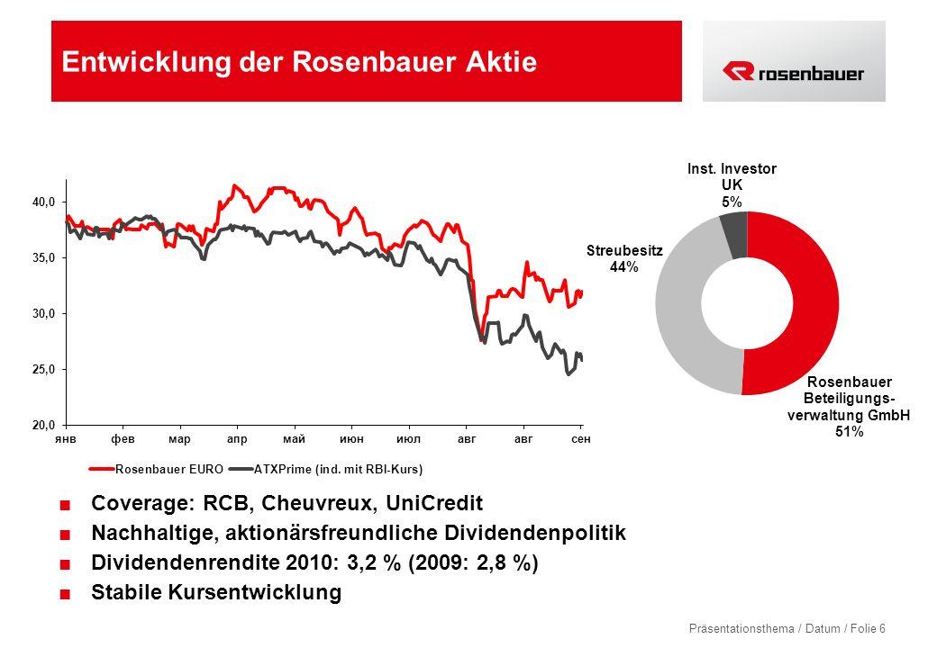 Präsentationsthema / Datum / Folie 6 Entwicklung der Rosenbauer Aktie Coverage: RCB, Cheuvreux, UniCredit Nachhaltige, aktionärsfreundliche Dividendenpolitik Dividendenrendite 2010: 3,2 % (2009: 2,8 %) Stabile Kursentwicklung