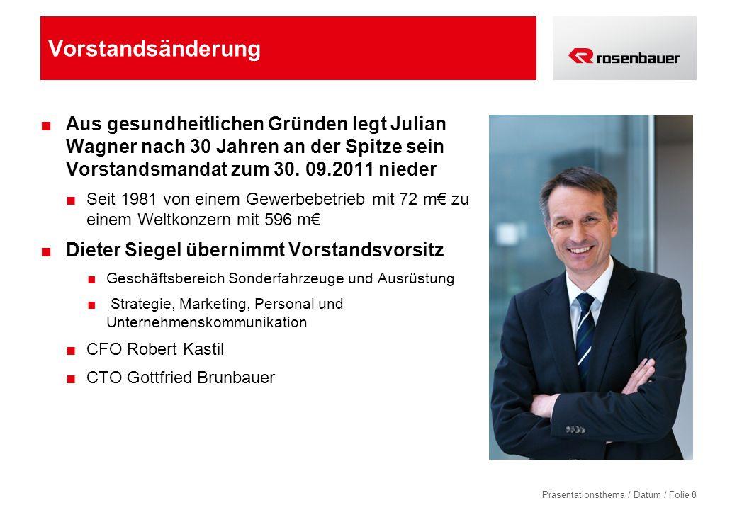 Präsentationsthema / Datum / Folie 8 Vorstandsänderung Aus gesundheitlichen Gründen legt Julian Wagner nach 30 Jahren an der Spitze sein Vorstandsmandat zum 30.