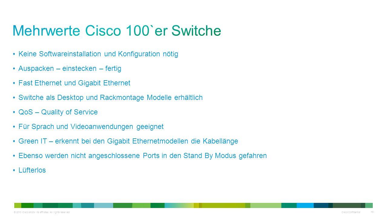 © 2010 Cisco and/or its affiliates. All rights reserved. Cisco Confidential 15 Keine Softwareinstallation und Konfiguration nötig Auspacken – einsteck