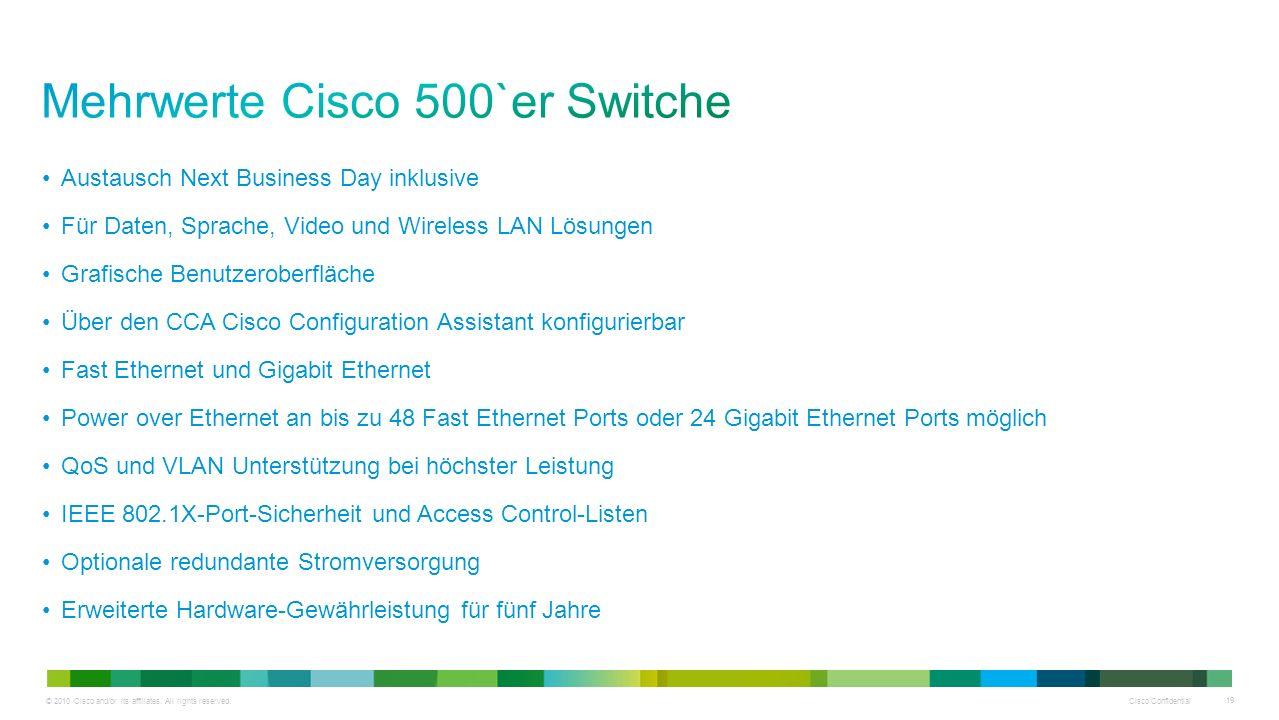 © 2010 Cisco and/or its affiliates. All rights reserved. Cisco Confidential 19 Austausch Next Business Day inklusive Für Daten, Sprache, Video und Wir