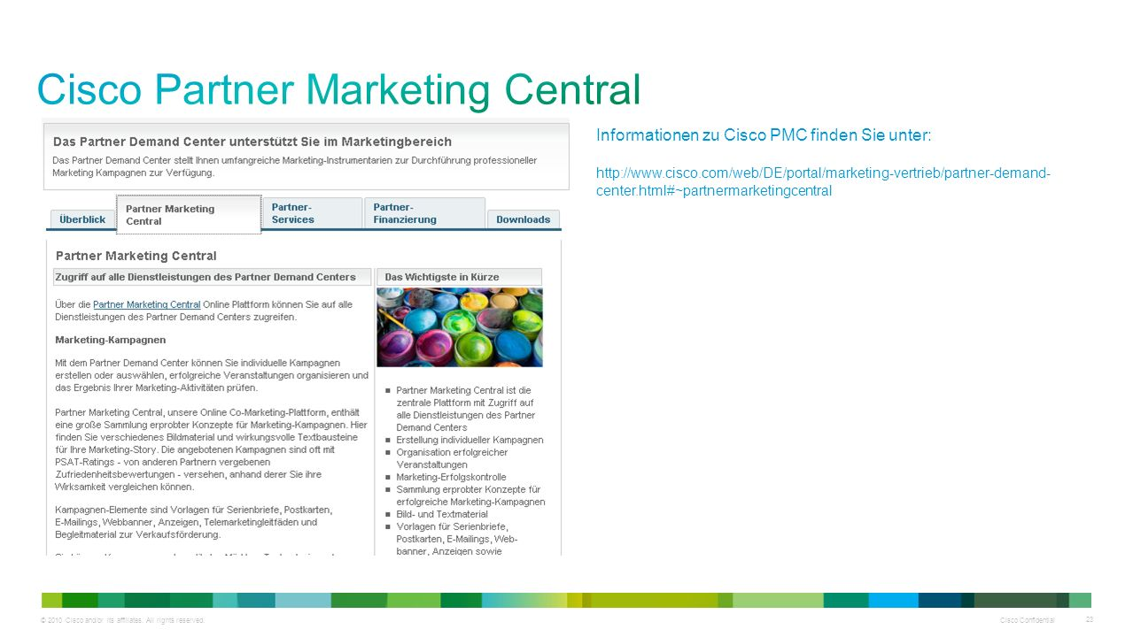 © 2010 Cisco and/or its affiliates. All rights reserved. Cisco Confidential 23 Informationen zu Cisco PMC finden Sie unter: http://www.cisco.com/web/D