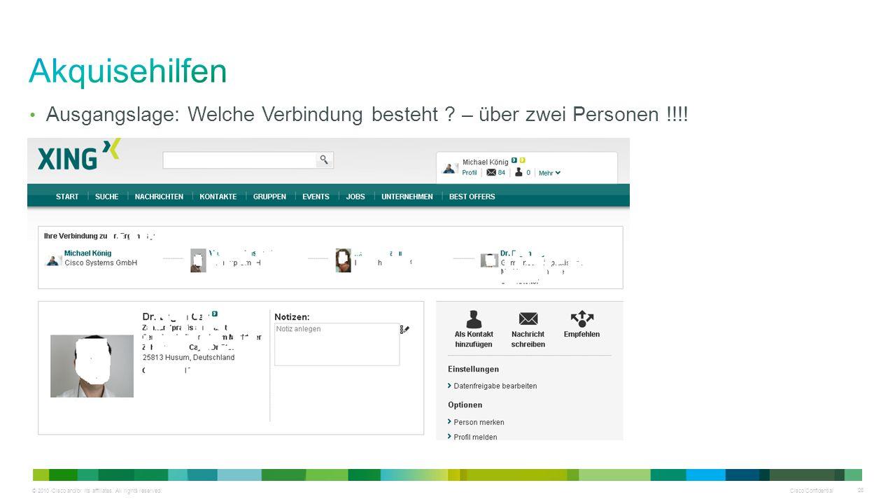 © 2010 Cisco and/or its affiliates. All rights reserved. Cisco Confidential 26 Ausgangslage: Welche Verbindung besteht ? – über zwei Personen !!!!