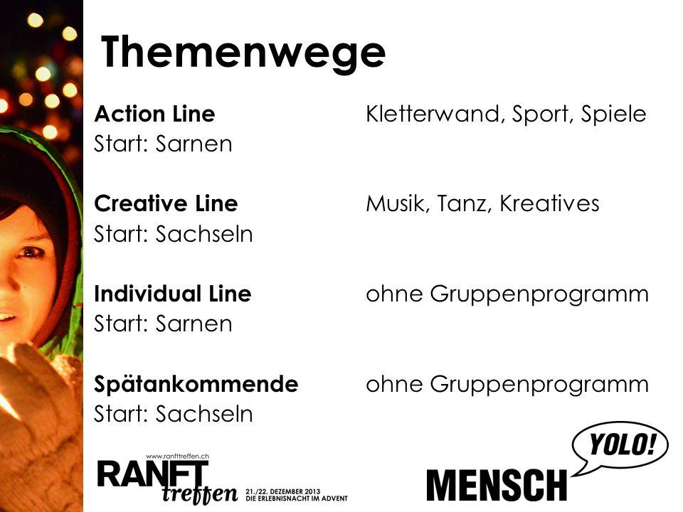 Themenwege Action Line Kletterwand, Sport, Spiele Start: Sarnen Creative Line Musik, Tanz, Kreatives Start: Sachseln Individual Line ohne Gruppenprogr