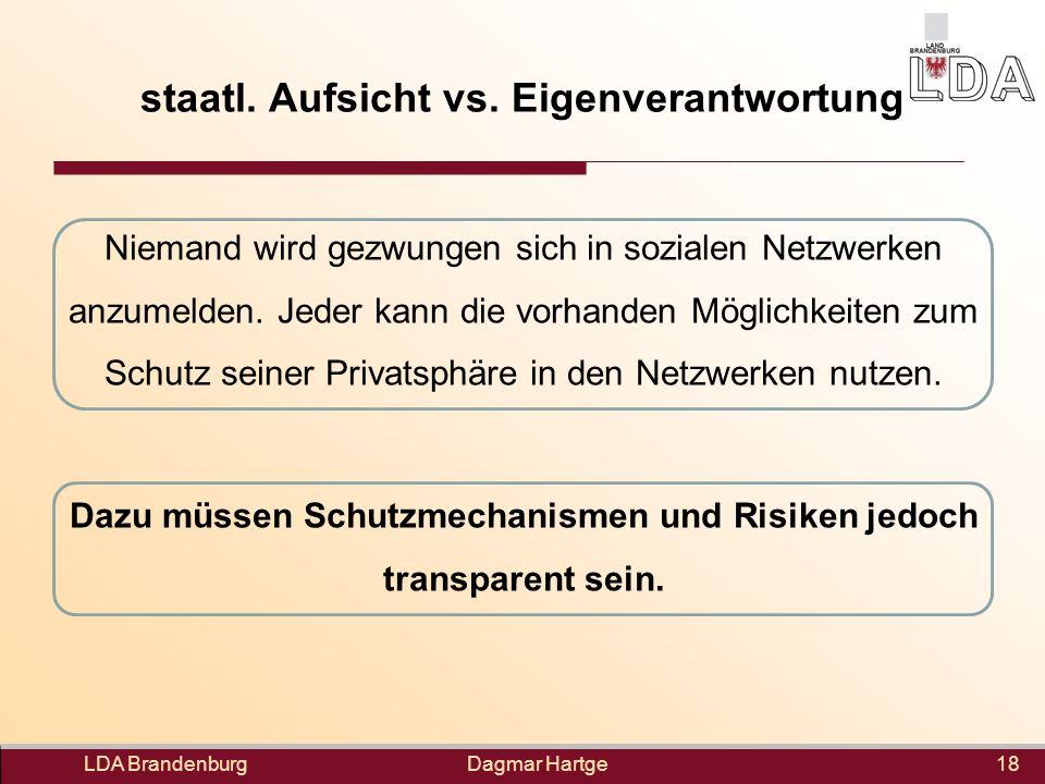 Dagmar Hartge staatl. Aufsicht vs. Eigenverantwortung Niemand wird gezwungen sich in sozialen Netzwerken anzumelden. Jeder kann die vorhanden Möglichk