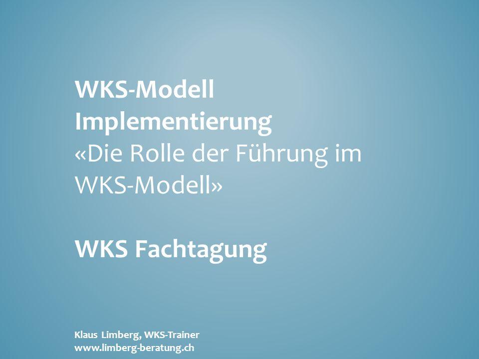 WKS-Modell Implementierung «Die Rolle der Führung im WKS-Modell» WKS Fachtagung Klaus Limberg, WKS-Trainer www.limberg-beratung.ch