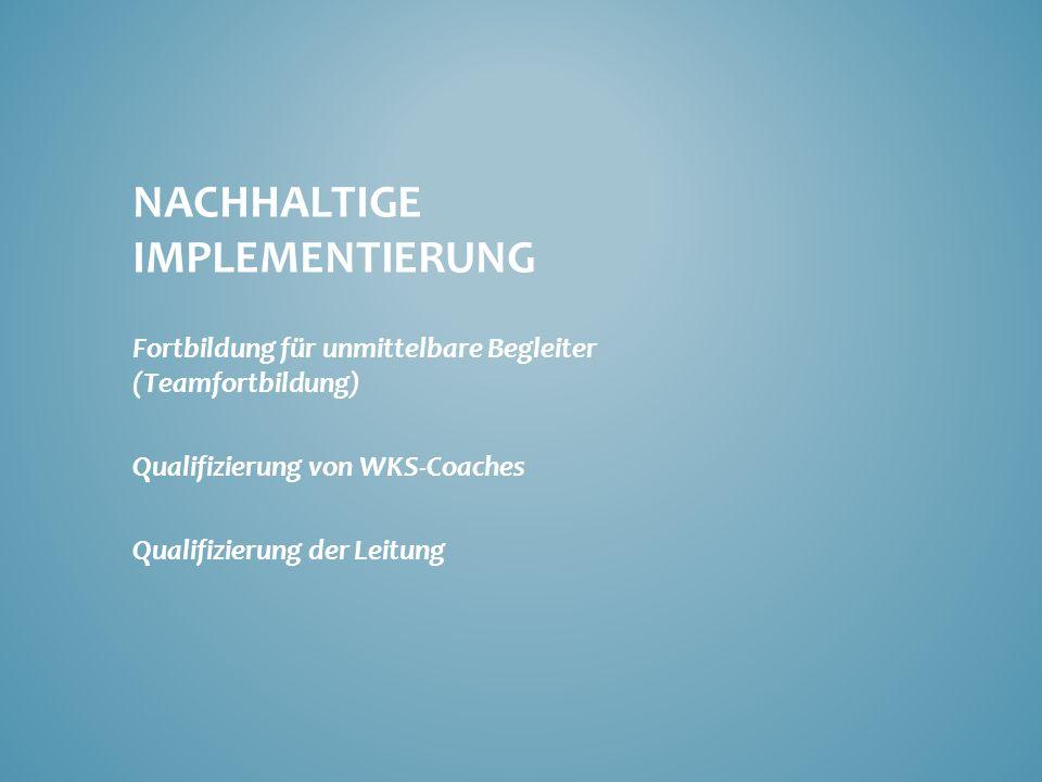 NACHHALTIGE IMPLEMENTIERUNG Fortbildung für unmittelbare Begleiter (Teamfortbildung) Qualifizierung von WKS-Coaches Qualifizierung der Leitung