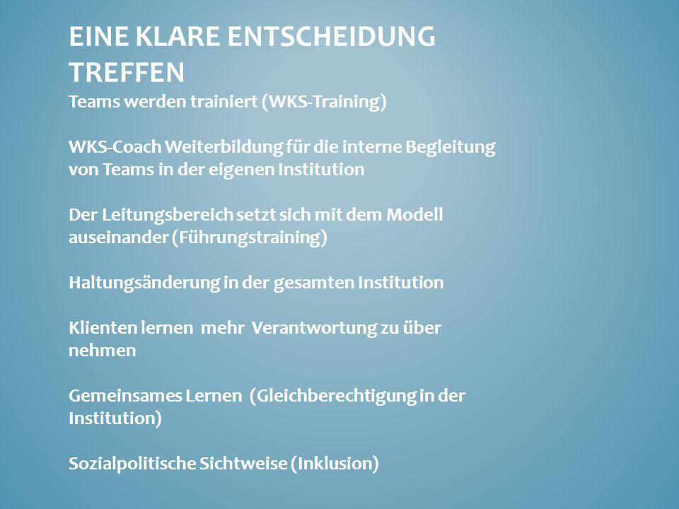 EINE KLARE ENTSCHEIDUNG TREFFEN Teams werden trainiert (WKS-Training) WKS-Coach Weiterbildung für die interne Begleitung von Teams in der eigenen Inst
