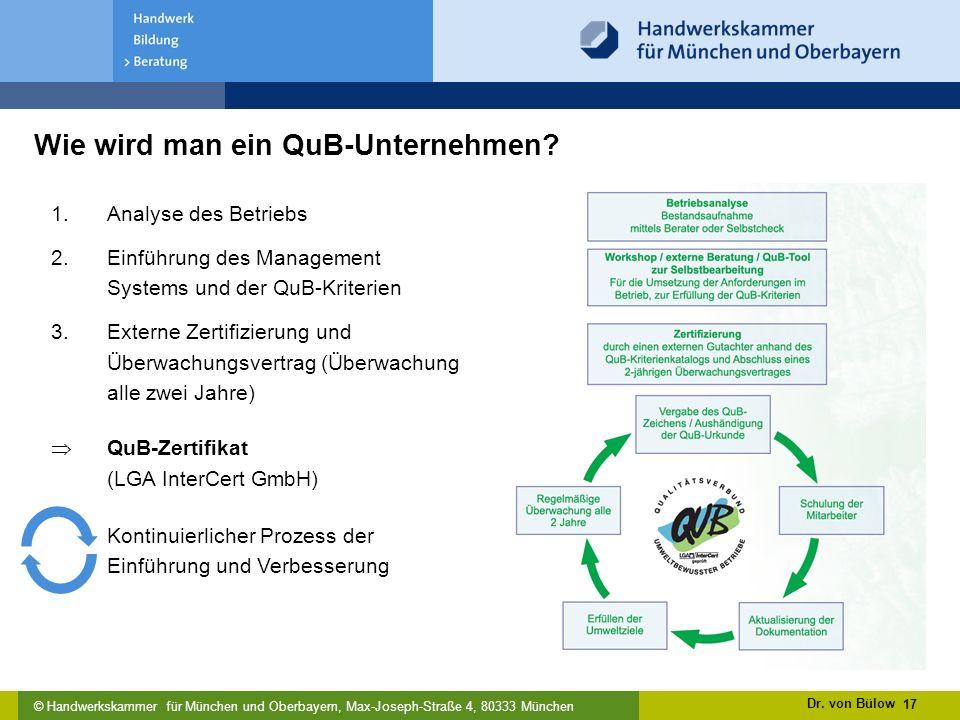 © Handwerkskammer für München und Oberbayern, Max-Joseph-Straße 4, 80333 München Wie wird man ein QuB-Unternehmen.