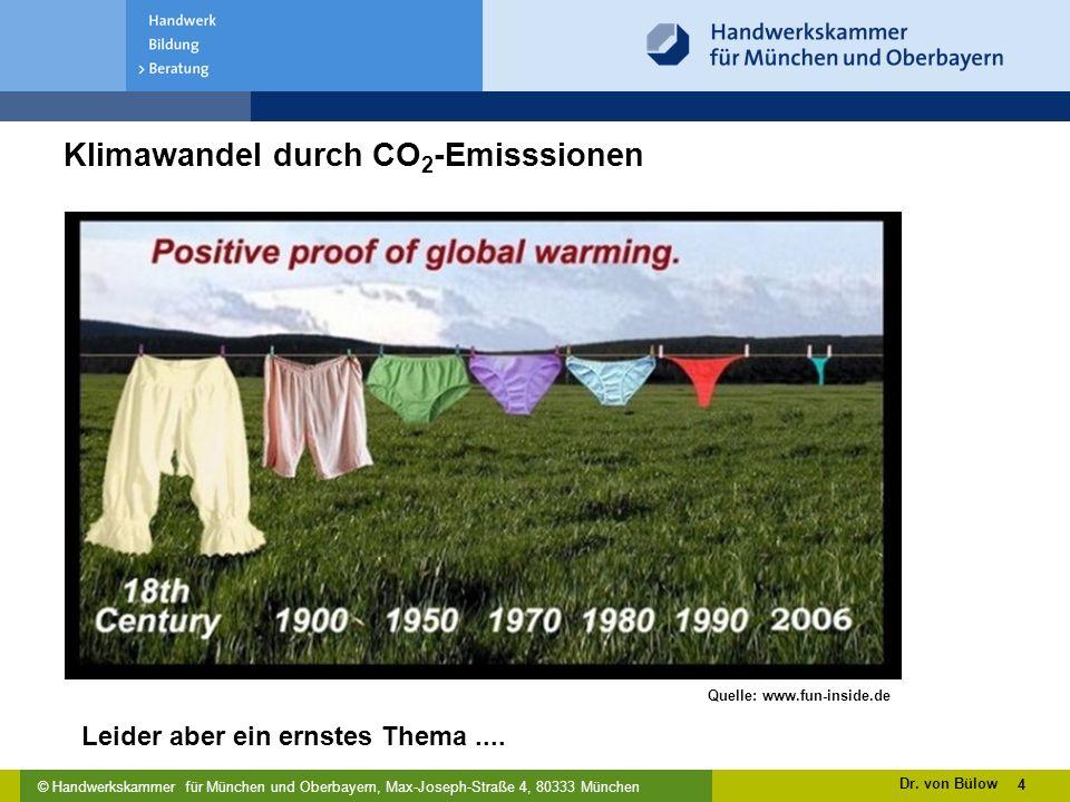 © Handwerkskammer für München und Oberbayern, Max-Joseph-Straße 4, 80333 München 4 Quelle: www.fun-inside.de Klimawandel durch CO 2 -Emisssionen Dr.
