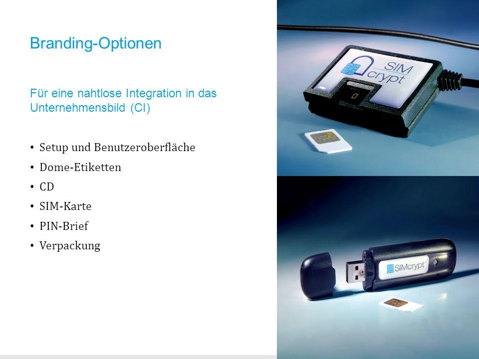 Branding-Optionen Für eine nahtlose Integration in das Unternehmensbild (CI) Setup und Benutzeroberfläche Dome-Etiketten CD SIM-Karte PIN-Brief Verpac