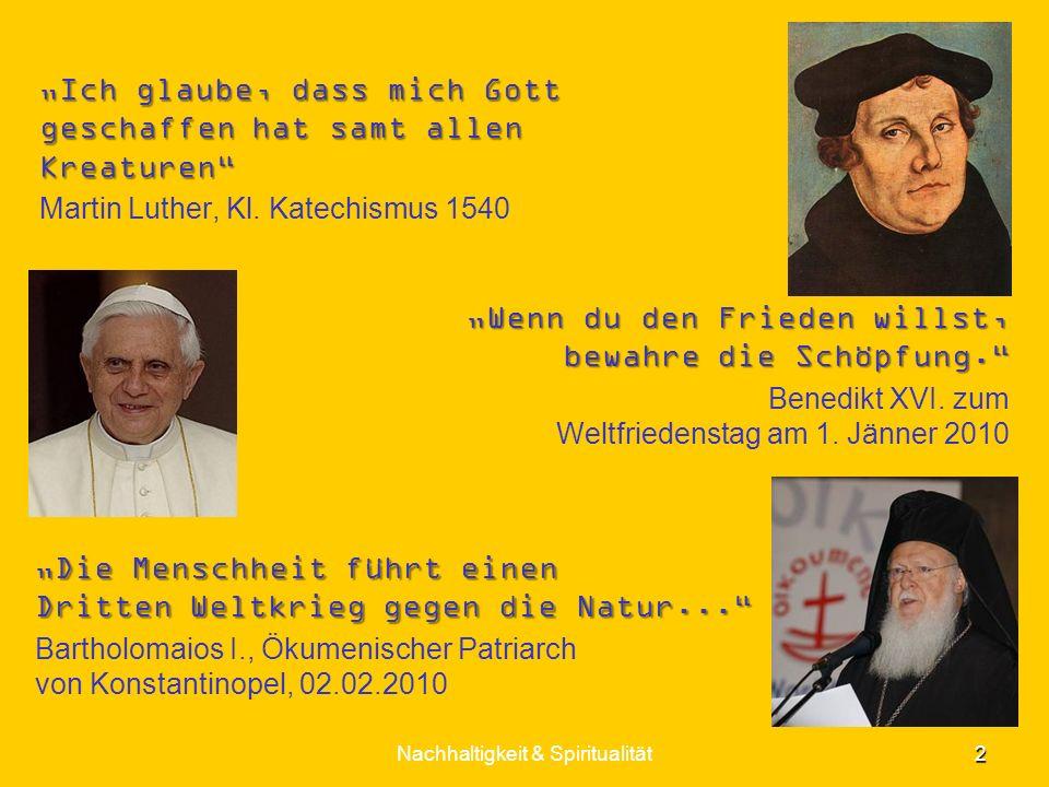Wenn du den Frieden willst, bewahre die Schöpfung. Benedikt XVI. zum Weltfriedenstag am 1. Jänner 2010 2 Nachhaltigkeit & Spiritualität Die Menschheit