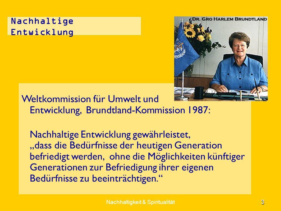 Nachhaltige Entwicklung Weltkommission für Umwelt und Entwicklung, Brundtland-Kommission 1987: Nachhaltige Entwicklung gewährleistet, dass die Bedürfn