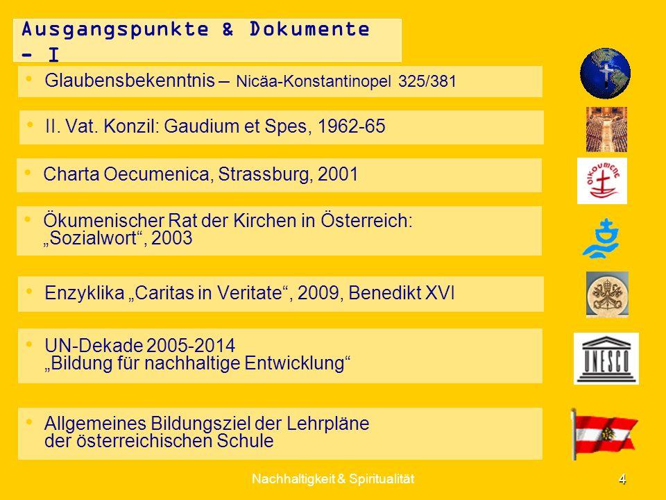 Nachhaltigkeit & Spiritualität 5 Ausgangspunkte & Dokumente - II Islamische Glaubensgemeinschaft - Koran - Imame-Konferenzen Europas 2003-Graz, 2006- und 2010-Wien Österreichische Buddhistische Religionsgesellschaft - Pali-Kanon - Sutra-Texte - Lehren S.H.