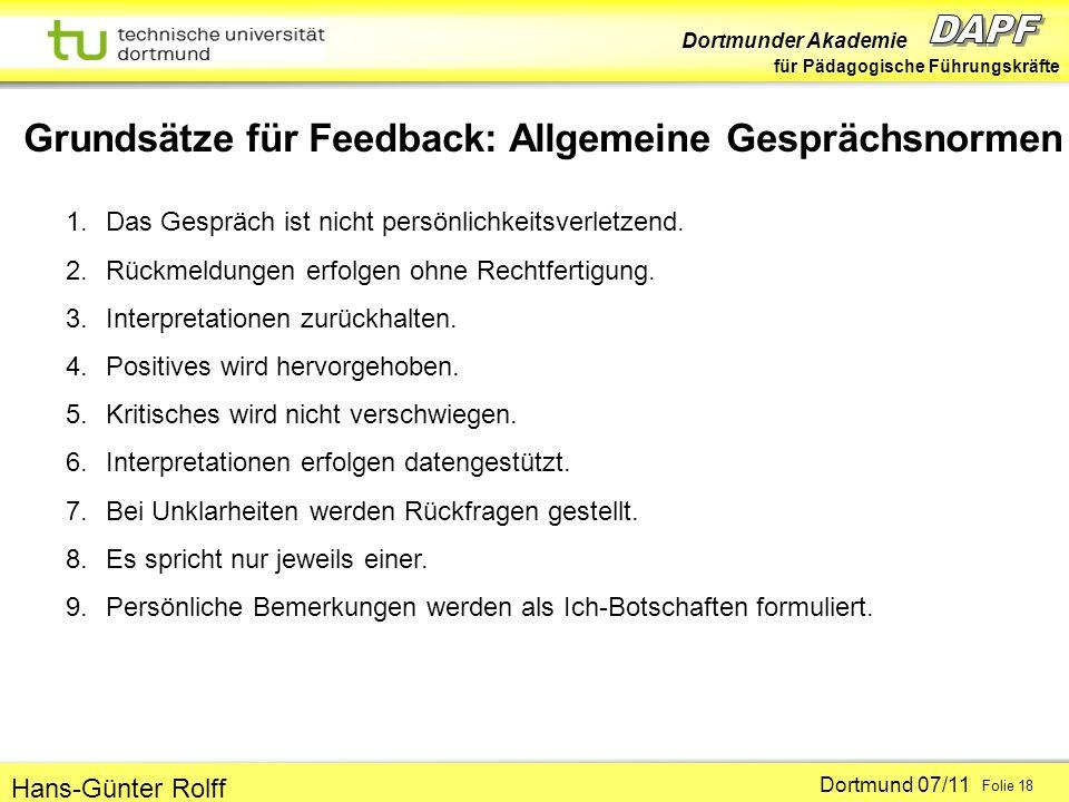 Dortmunder Akademie für Pädagogische Führungskräfte Dortmund 07/11 Folie 18 Hans-Günter Rolff Grundsätze für Feedback: Allgemeine Gesprächsnormen 1.Das Gespräch ist nicht persönlichkeitsverletzend.