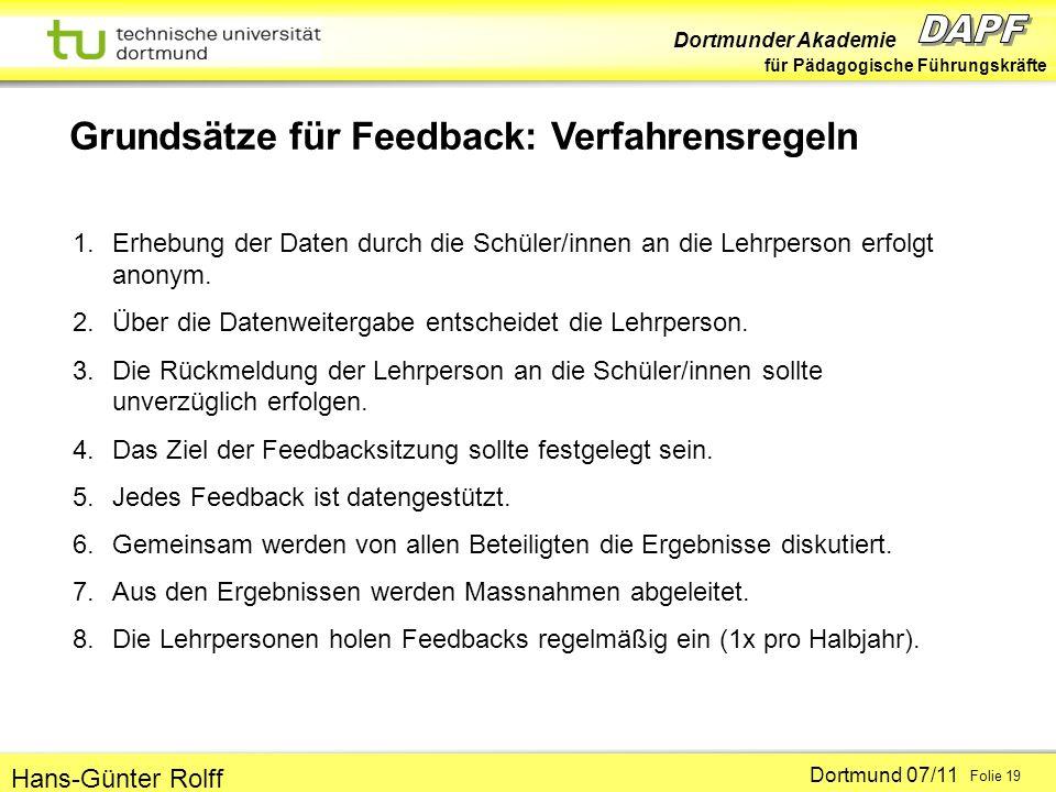 Dortmunder Akademie für Pädagogische Führungskräfte Dortmund 07/11 Folie 19 Hans-Günter Rolff Grundsätze für Feedback: Verfahrensregeln 1.Erhebung der