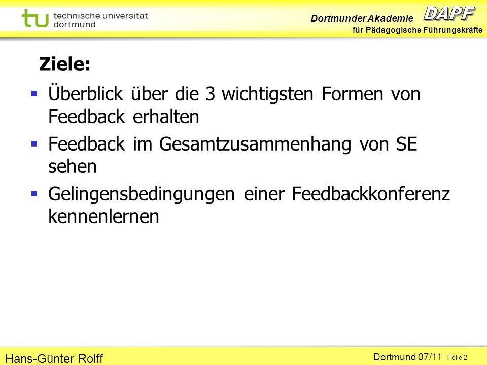 Dortmunder Akademie für Pädagogische Führungskräfte Dortmund 07/11 Folie 2 Hans-Günter Rolff Ziele: Überblick über die 3 wichtigsten Formen von Feedba