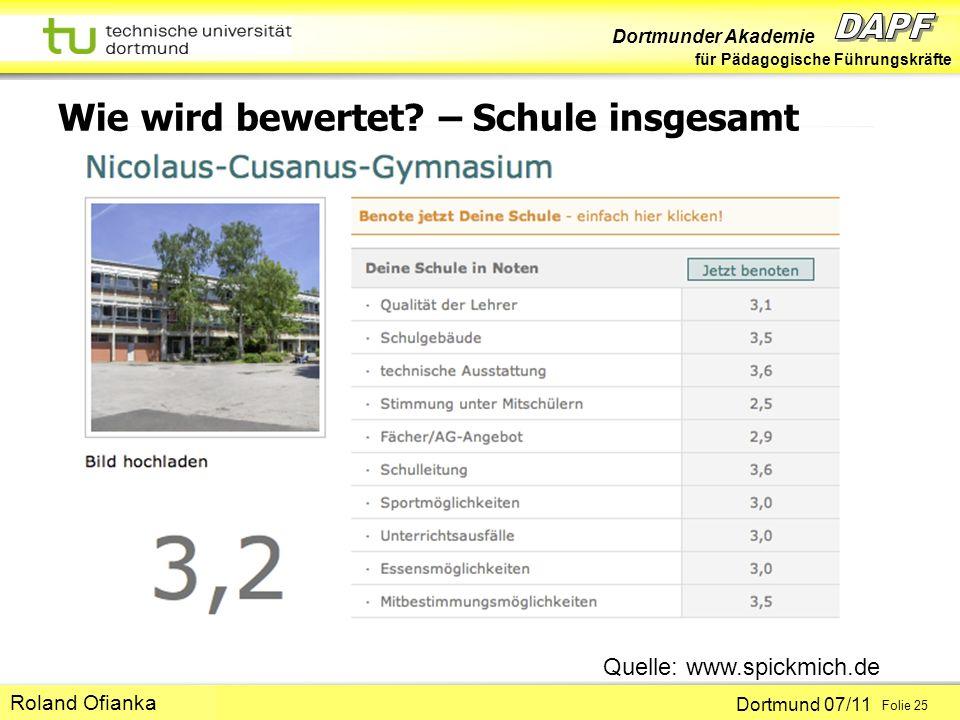 Dortmunder Akademie für Pädagogische Führungskräfte Dortmund 07/11 Folie 25 Hans-Günter Rolff Wie wird bewertet? – Schule insgesamt Quelle: www.spickm