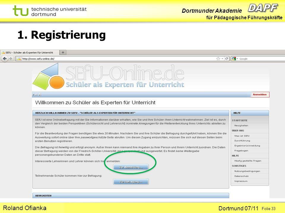 Dortmunder Akademie für Pädagogische Führungskräfte Dortmund 07/11 Folie 33 Hans-Günter Rolff 1. Registrierung Roland Ofianka