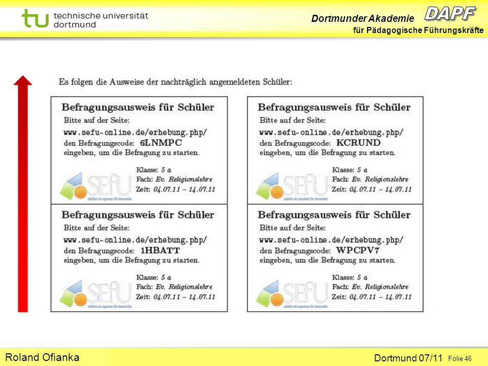 Dortmunder Akademie für Pädagogische Führungskräfte Dortmund 07/11 Folie 46 Hans-Günter Rolff Roland Ofianka