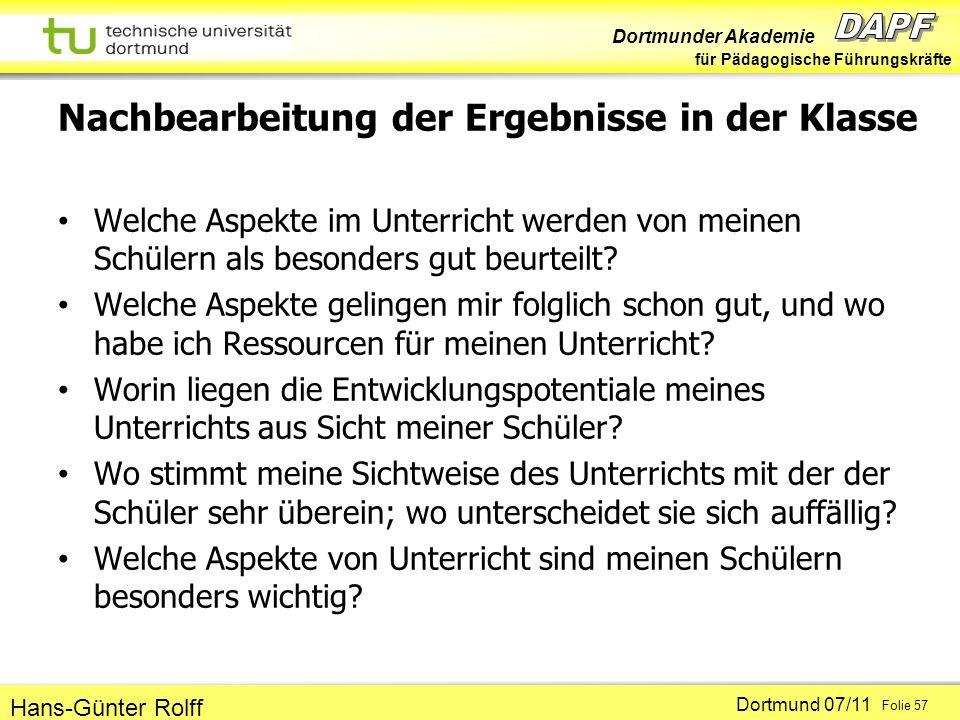 Dortmunder Akademie für Pädagogische Führungskräfte Dortmund 07/11 Folie 57 Hans-Günter Rolff Nachbearbeitung der Ergebnisse in der Klasse Welche Aspekte im Unterricht werden von meinen Schülern als besonders gut beurteilt.