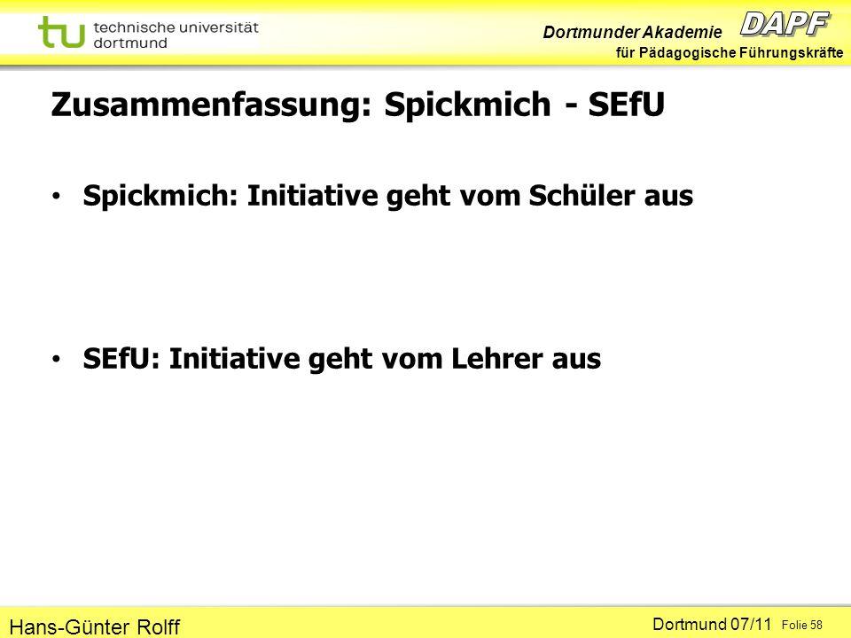 Dortmunder Akademie für Pädagogische Führungskräfte Dortmund 07/11 Folie 58 Hans-Günter Rolff Zusammenfassung: Spickmich - SEfU Spickmich: Initiative geht vom Schüler aus SEfU: Initiative geht vom Lehrer aus