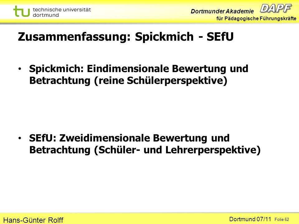 Dortmunder Akademie für Pädagogische Führungskräfte Dortmund 07/11 Folie 62 Hans-Günter Rolff Zusammenfassung: Spickmich - SEfU Spickmich: Eindimensio