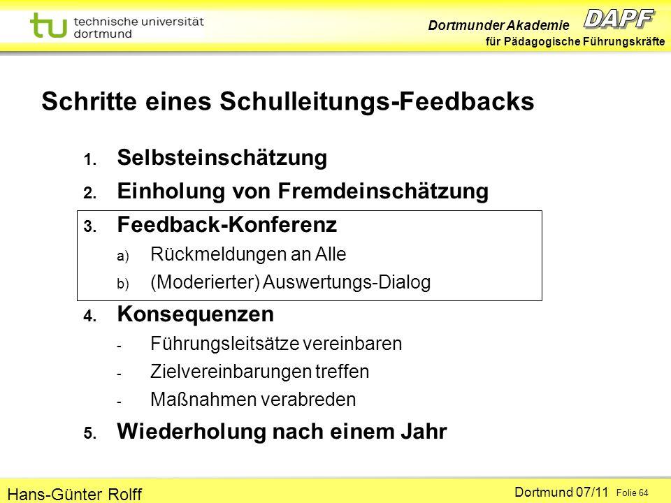 Dortmunder Akademie für Pädagogische Führungskräfte Dortmund 07/11 Folie 64 Hans-Günter Rolff 1. Selbsteinschätzung 2. Einholung von Fremdeinschätzung