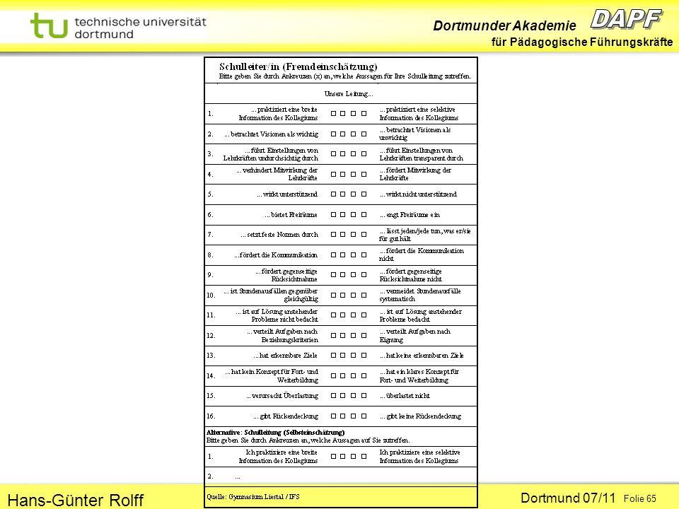 Dortmunder Akademie für Pädagogische Führungskräfte Dortmund 07/11 Folie 65 Hans-Günter Rolff