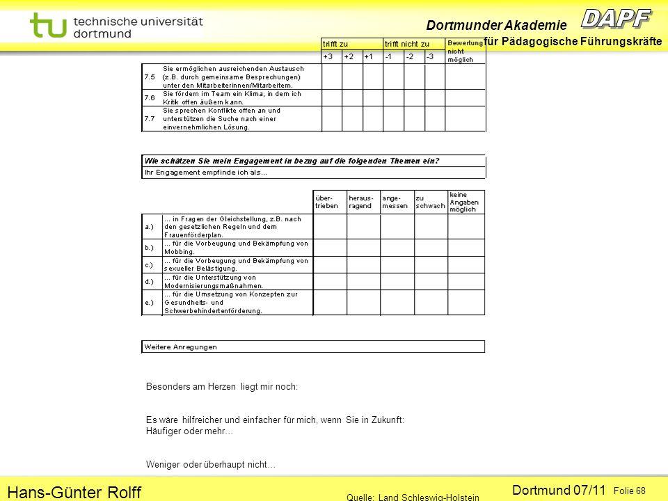 Dortmunder Akademie für Pädagogische Führungskräfte Dortmund 07/11 Folie 68 Hans-Günter Rolff Besonders am Herzen liegt mir noch: Es wäre hilfreicher