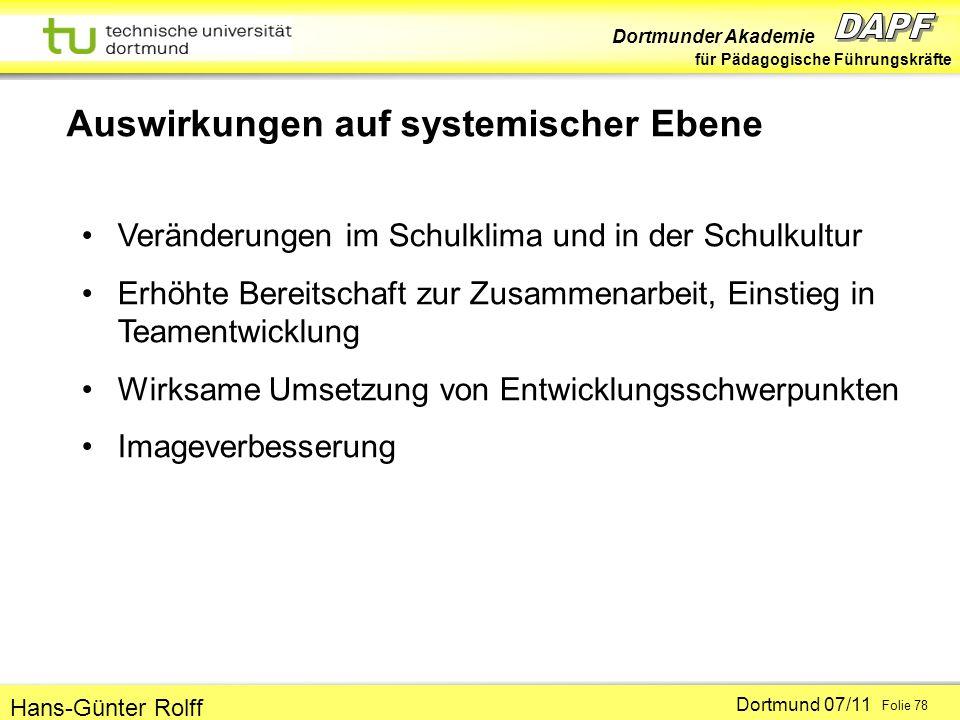 Dortmunder Akademie für Pädagogische Führungskräfte Dortmund 07/11 Folie 78 Hans-Günter Rolff Auswirkungen auf systemischer Ebene Veränderungen im Sch