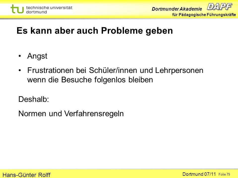 Dortmunder Akademie für Pädagogische Führungskräfte Dortmund 07/11 Folie 79 Hans-Günter Rolff Es kann aber auch Probleme geben Angst Frustrationen bei