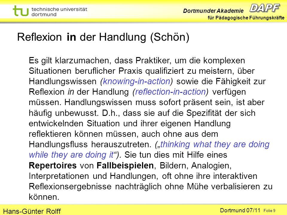 Dortmunder Akademie für Pädagogische Führungskräfte Dortmund 07/11 Folie 9 Hans-Günter Rolff Reflexion in der Handlung (Schön) Es gilt klarzumachen, dass Praktiker, um die komplexen Situationen beruflicher Praxis qualifiziert zu meistern, über Handlungswissen (knowing-in-action) sowie die Fähigkeit zur Reflexion in der Handlung (reflection-in-action) verfügen müssen.