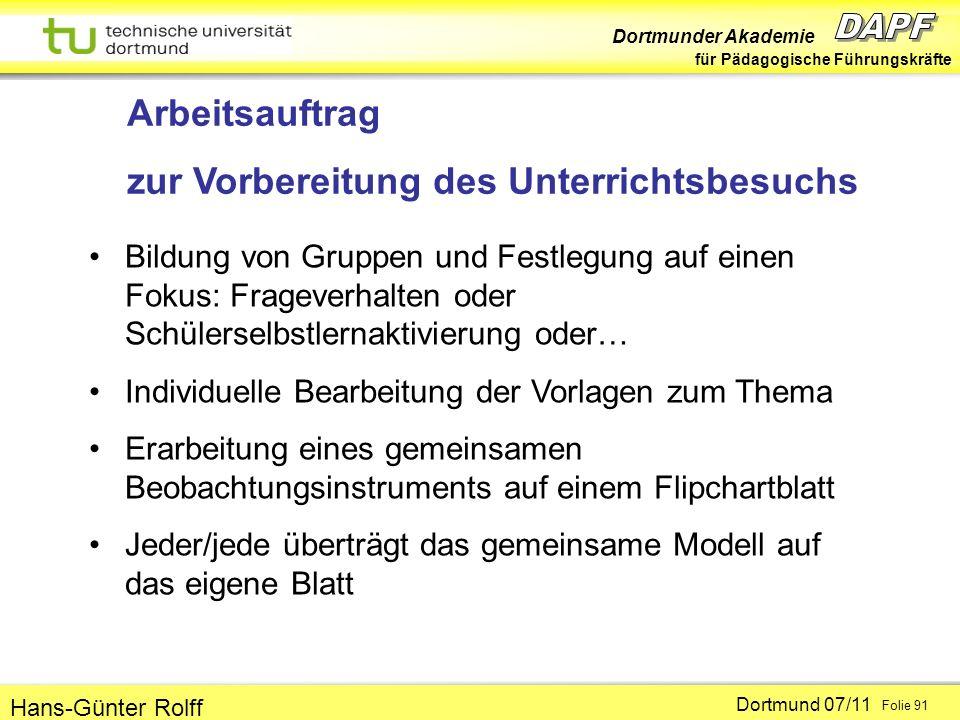 Dortmunder Akademie für Pädagogische Führungskräfte Dortmund 07/11 Folie 91 Hans-Günter Rolff Arbeitsauftrag zur Vorbereitung des Unterrichtsbesuchs B