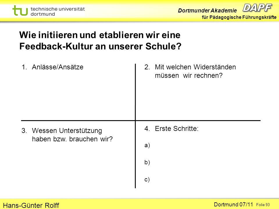 Dortmunder Akademie für Pädagogische Führungskräfte Dortmund 07/11 Folie 93 Hans-Günter Rolff 1.Anlässe/Ansätze 2.Mit welchen Widerständen müssen wir rechnen.