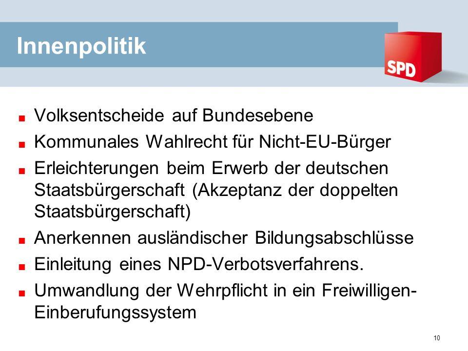 Innenpolitik Volksentscheide auf Bundesebene Kommunales Wahlrecht für Nicht-EU-Bürger Erleichterungen beim Erwerb der deutschen Staatsbürgerschaft (Akzeptanz der doppelten Staatsbürgerschaft) Anerkennen ausländischer Bildungsabschlüsse Einleitung eines NPD-Verbotsverfahrens.