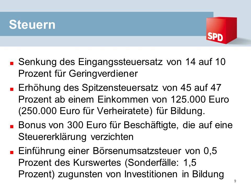 Steuern Senkung des Eingangssteuersatz von 14 auf 10 Prozent für Geringverdiener Erhöhung des Spitzensteuersatz von 45 auf 47 Prozent ab einem Einkommen von 125.000 Euro (250.000 Euro für Verheiratete) für Bildung.